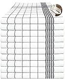 MTEXT Geschirrtücher Küchenhandtuch aus 100prozent Baumwolle 10 Stück Pack, 50x70 cm, 60g, grau weiß karriert (Grau)
