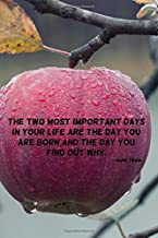 The two most important days in your life are the day you are born and the day you find out why.: 110 Pages Motivational Notebook with Quote by Mark Twain