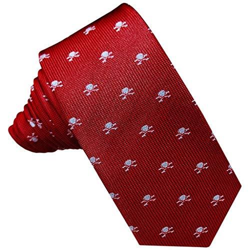 JOSVIL Corbatas Estrechas Pala de Seda. Corbatas Estrechas Hombre en Color Rojo con Estampado de Calaveras Plata.