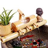 Bambus-Wasserspiel, Figuren, Zen-Garten, Feng Shui-Springbrunnen mit Pumpe, japanische Gartendekoration, Dekoration für den Innen- und Außenbereich (55 cm)