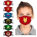 Kids 6Pcs Child Cute Cartoon Face Bandanas Reusable Washable Cloth Cotton Face Protection Adjustable for Girls Boys (multicolored 3)