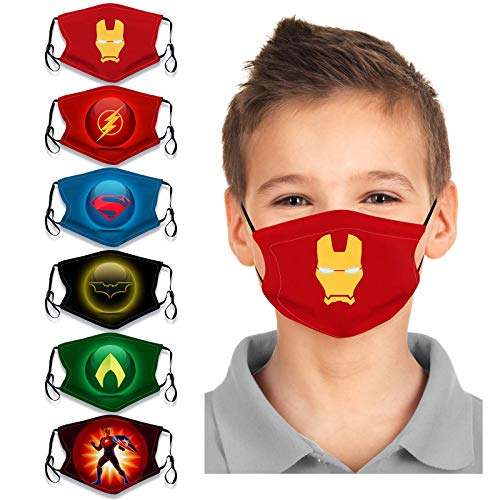 Kids 6Pcs Cute Cartoon Face Bandanas Reusable Washable Cloth Cotton Face Protection Adjustable for Girls Boys (multicolored 3)