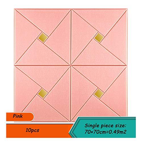 XEWNEG Einfache und Elegante 3D Selbstklebende Tapete - for Wohnzimmer Schlafzimmer Wanddekoration, PE-Schaum-Wand-Aufkleber und verschleißfest, geschnitten Werden, 70 x 70 cm (Color : Pink)
