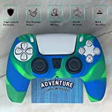 Seaweed Blue Green Marble - Silicone Controller Skin Grip Anti-Slip Cover Protector Case - Compatible with PS5 DualSense Controller