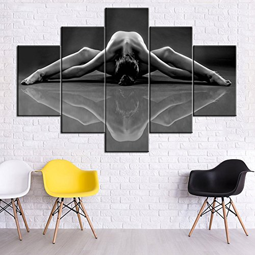 House Decorations Living Room Sexy Nude Woman Painting for Men/Women 5 Piece Canvas Wall Art Black and White Naked Girl Pictures,Modern Artwork Framed Ready to Hang Posters and Prints(60''Wx40''H)
