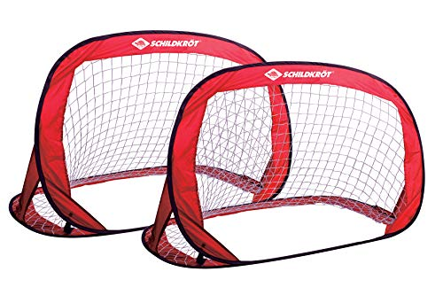 Schildkröt Pop-Up Goals, 2er Set Tore, 120 x 80 x 80cm, selbstaufstellend, transportabel, platzsparend, ideal für Fußball, Hockey, incl. Heringen und Anleitung, 2 Stück in praktischer Tasche, 970988