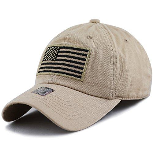 The Hat Depot Low Profile Tactical Operator USA Flag Buckle Cotton Cap (Khaki)