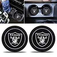 Fast & Furious 2PCS Car Cup Holder Coaster for Oakland Raiders, 2.8 Inch Car Interior Accessories Durable Non Slip Silicone Logo Cup Mat for All Vehicles (for Raiders)
