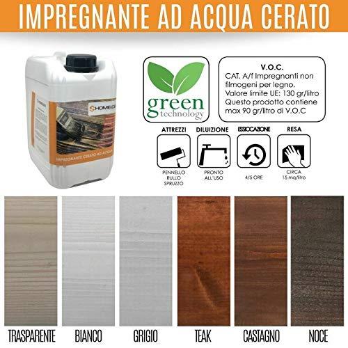Home Idea Italia, Impregnante legno cerato acqua 5 l protettivo (Bianco)