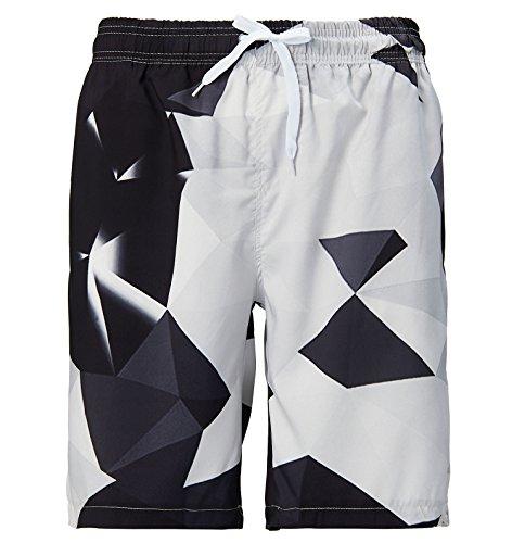 AIDEAONE Herren Strand Shorts Badehose Schwarz und weiß Mode Badeshorts
