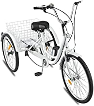GBSELL Adult Tricycles 7 Speed, Adult Trikes 24 inch 3 Wheel Bikes, Three-Wheeled Bicycles Cruise Trike with Shopping Basket for Seniors, Women, Men