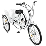24in Miami Sun Adult Tricycle Bike 1/7 Speed 3-Wheel for Shopping W/Installation Tools Three-Wheeled Bicycle for Men and Women (White)