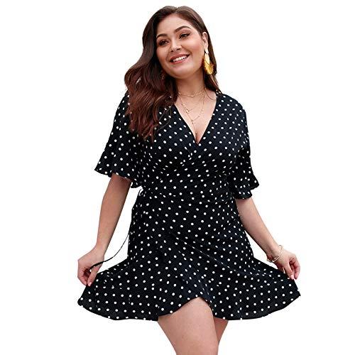 LKITYGF Encantador Vestido de Talla Grande para Mujer, Vestido de Manga Corta con Cuello en V, Vestidos de Columpios Casuales, Negro, 4XL (Color : Black, Size : 3XL)
