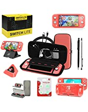 Switch Lite Accessories Bundle, Kit with Carrying Case,TPU Case Cover with Screen Protector,Charging Dock,Playstand, Game Card Case, USB Cable, Stylus,Thumb Grip Caps for Nintendo Switch Lite