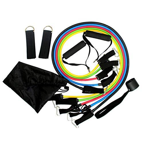 Set weerstandsbanden, set met oefenbanden, enkelriemen, deuranker en handgrepen voor spieropbouw, krachttraining, yoga-oefeningen, kan in huis trainen