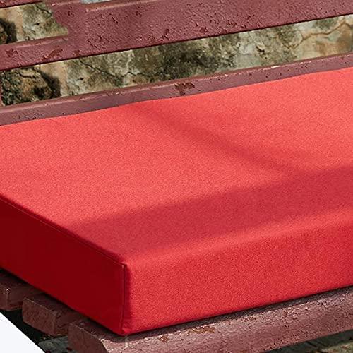 Sitzkissen für drinnen und draußen, UV-beständig, wasserabweisend, Schaumstoffpolster für 2- und 3-Sitzer, bequem, waschbar, für Garten, Terrasse, Recamiere, 90 x 30 cm, Rot