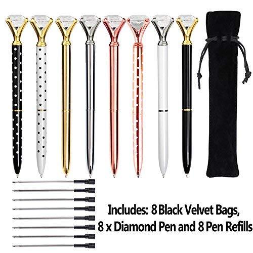 KEKU, 8 penne a sfera in metallo con grosso diamante, con sacchetto nero e 8 ricariche a sfera, per donne, colleghe, bambini, ragazze