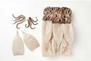 Pana Pesca Fully Cleaned Todarodes Raw Squid Tubes and Tentacles - 3/5 inch Tubes, 2.5 Pound -- 4 per case.