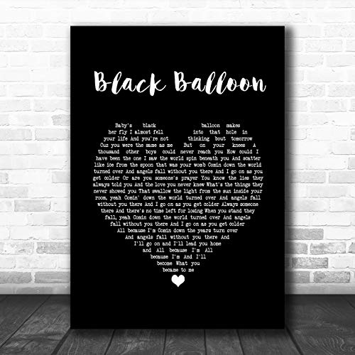 Zwarte ballon zwart hart lied lyrische citaat muziek poster print Medium A4