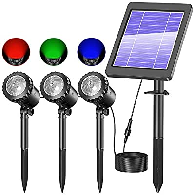 Biling Solar Spotlights Outdoor, IP68 Waterproof Solar Pond Lights with 3 Lamps, RGB Solar Landscape Spotlights Underwater Lights for Pond,Garden,Landscape,Fountain,Outdoor,Lawn