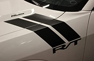Factory Crafts RT Hash Stripes Hood Graphics Kit 3M Vinyl Decal Wrap Compatible with Dodge Challenger 2008-2016 - Gloss Black
