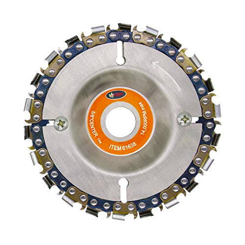 Wood Carving Disc,IRmm 4 Inch Angle Grinder Chain Disc Double Saw Teeth Anti-Kickback Woodcarving Saw Blade,22 Teeth, 5/8' Arbor (4 in)