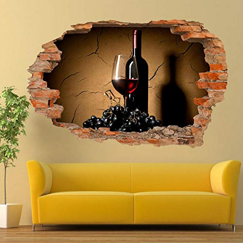 Grapes Glass Red Wine Wall Stickers 3D Art Mural Posters Office Home Decor 50x75cm