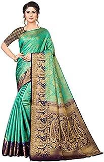 Neerav Exports Banarasi Silk With Weaving Zari Butta Saree (Green)