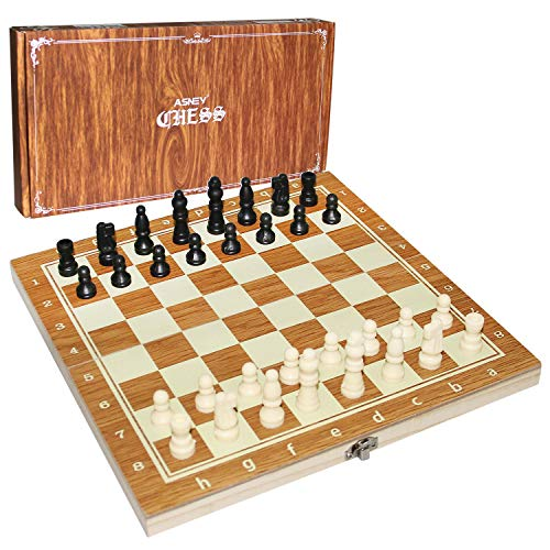 """ASNEY 12"""" Wooden Chess Set, Folding Travel Chess Board Game Set Educational Toys for Kids and Beginner (Brown)"""