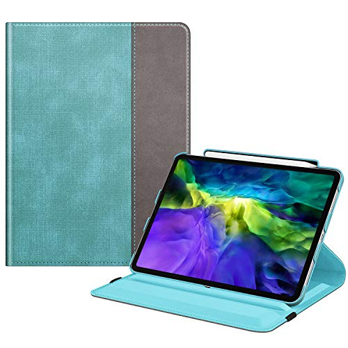 Fintie Case with Built-in Pencil Holder for iPad Pro 11' 2020 & 2018 [Support 2nd Gen Pencil Charging Mode] - 360 Degree Rotating Stand Protective Cover with Auto Sleep/Wake, Turquoise