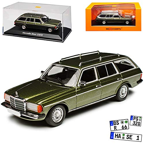 Minichamps Mercedes-Benz W123 230TE E-Klasse Kombi T-Modell Grün 1975-1986 1/43 Maxichamps Modell Auto mit individiuellem Wunschkennzeichen