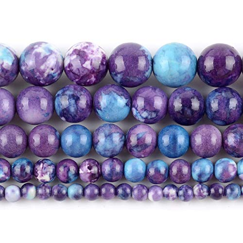 KEJI Cuentas Espaciadoras Sueltas Redondas De Piedra Turquesas Azul Púrpura Natural para Hacer Joyería DIY Pulsera Hecha A Mano 4/6/8/10 / 12Mm