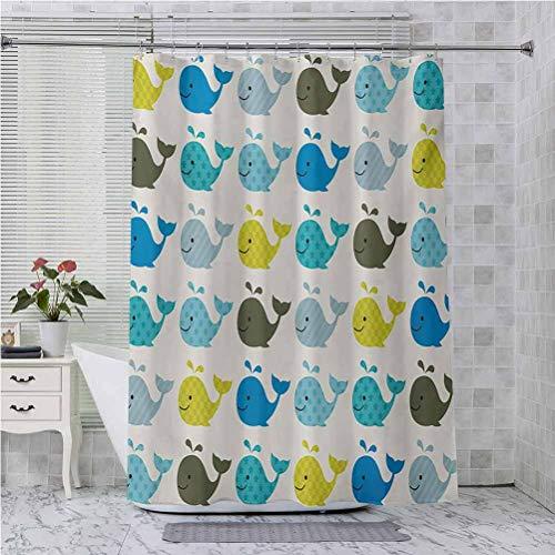 Cortinas de ducha para baño, coloridas ballenas punteadas cuadrados líneas animales, 175 x 70 pulgadas impermeable decorativo baño, azul carbón gris pálido azul