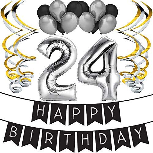 Sterling James Co. 24. Geburtstag Party Set – Schwarz & Silber Happy Birthday Girlande, Poms und Spiralgirlanden – Lustiges Geschenk Deko