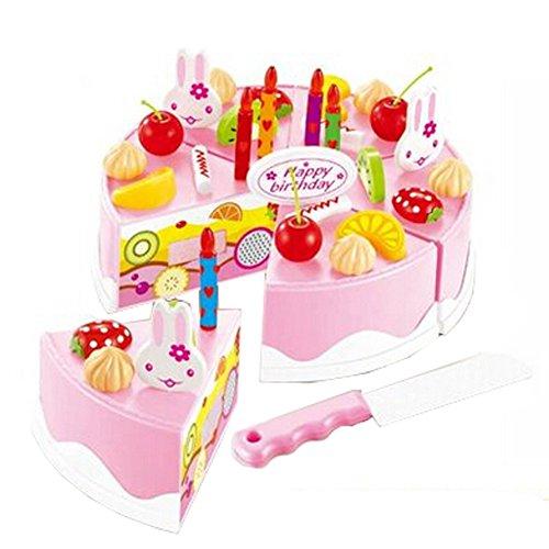 37 pièces de coupe de gâteau Pretend Play Set alimentaire pour les enfants,Rose