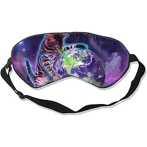 Sleep Mask,Space Cat Mit Augenlaser Premium Waschbare Schlafmasken Für Hotelflugreisen