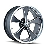 Ridler Style 645 Matte Black Wheel with Machined Face/Polished Lip (20x10'/5x114.3mm)