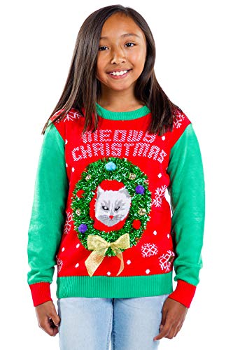 Tipsy Elves Boys and Girls Cat in Wreath Ugly Christmas Sweater - Youth Red and Green Tacky Holiday Pullover Size X-Large