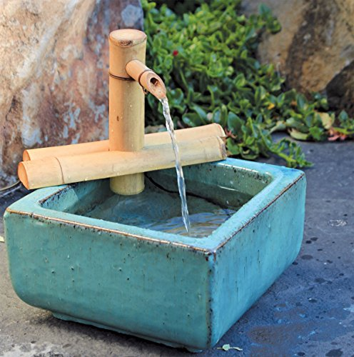 Bamboo Accents Zen Garden Water Fountain with Pump, Indoor/Outdoor, Adjustable 7-Inch Half-Round Flat Base, Smooth Split-Resistant Bamboo (Container Not Included)