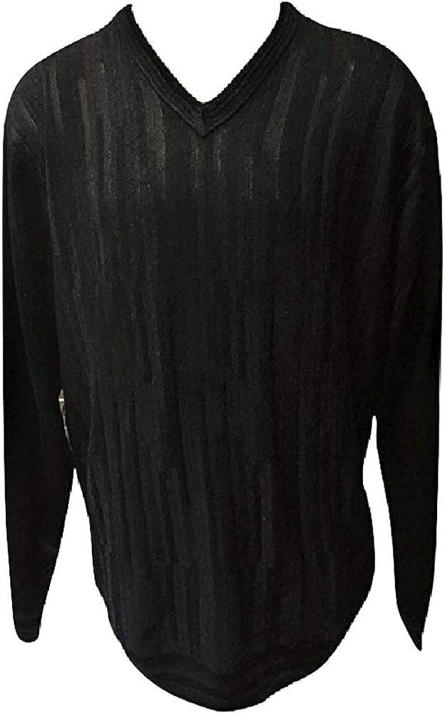 Cellini Black Grey Stripe Wool Blend Big and Tall V-Neck Sweater