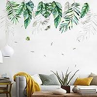 熱帯植物大葉ウォールステッカー壁紙リビングソファ背景壁画家の装飾アートリムーバブルステッカー45x60cm * 2pcs
