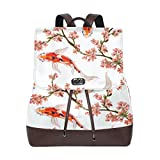 KUWT Tropical Japanese Flowers and Koi Fish PU Leather Backpack Travel Shoulder Bag School College Book Bag Casual Daypacks Diaper Bag for Women and Girl