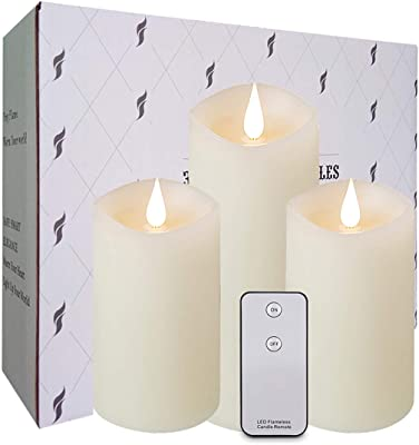 """La roskey Flickering Flameless Candles Battery Operated 3D Wick Real Wax Pillar Candles 5"""" 5"""" 7"""" Set of 3 with Remote Control Realistic Dancing LED Flames Rose Scented Ivory 500+ Hours"""