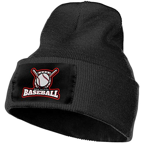 shenguang Strickmütze Strickmütze Born to Play Baseball Warm and Fashionable Winter...