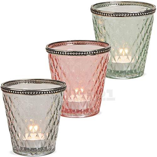 matches21 HOME & HOBBY Lantaarns Tealight glazen Kaars Lenzen Oosters Marokko Glas & Metaal grote Set van 3 roze grijs groen 10 cm
