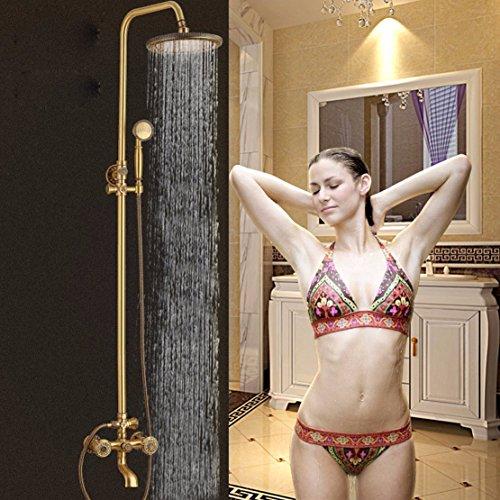 ZHGI Di stile europeo e kit doccia in ottone antico Turbo testa di doccia bronzo verde