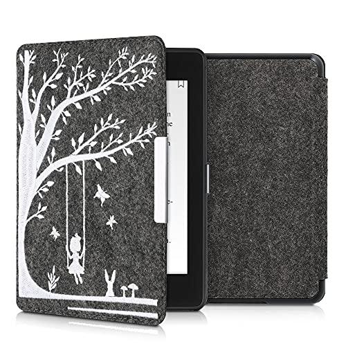 kwmobile Funda Compatible con Amazon Kindle Paperwhite (10. Gen - 2018) - Carcasa Plegable de Fieltro para e-Reader - Case Niña columpiándose Blanco/Gris Oscuro