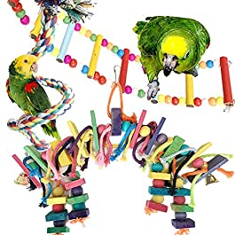 PietyPet Bird Parrot Toys for Cages, Colorful Wooden Block Bird Parrot Toys with Bells, Wooden Ladder Hammock, Rope Perch for Small and Medium Parrots, 3pcs