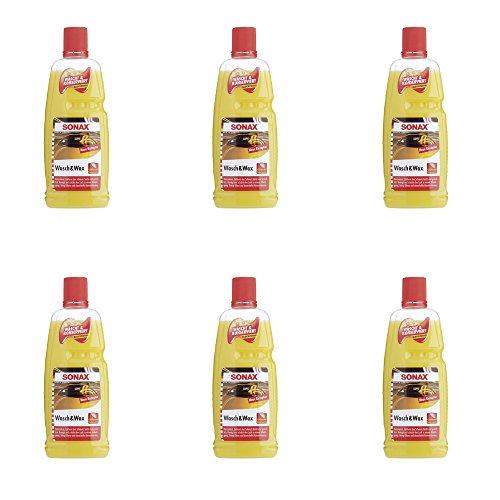 SONAX 6 x 313341 Wasch & Wax mit Carnauba Wax je 1 Liter sind insgesamt 6 Liter