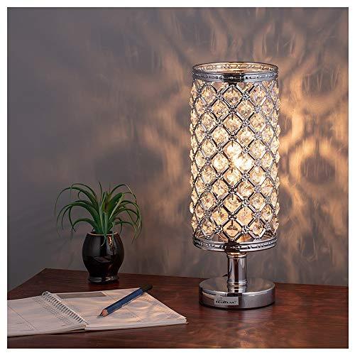 Bedlamp, bureaulamp, zilverkleurig kristalglas, bedlampje met stoffen kap voor slaapkamer, woonkamer, kinderkamer, kantoor, licht